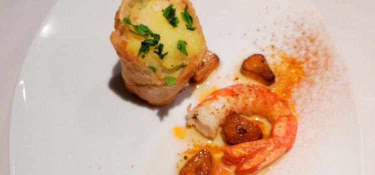 Café Bar Rick´s > Cono de patatas con bacalao y gamba al ajillo